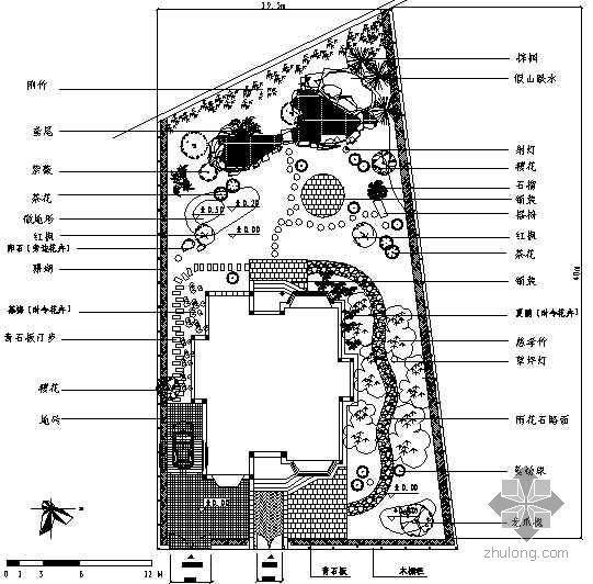 某别墅庭院植物配置平面图