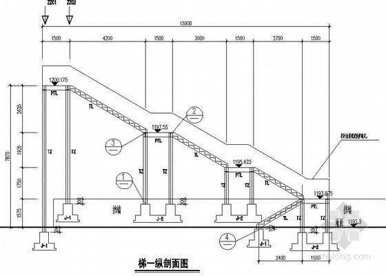 室外新增多跑钢楼梯节点构造详图
