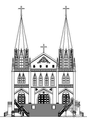 某三层哥特式教堂建筑施工图