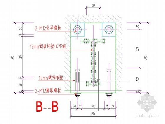 玻璃雨棚施工节点图(驳接爪)