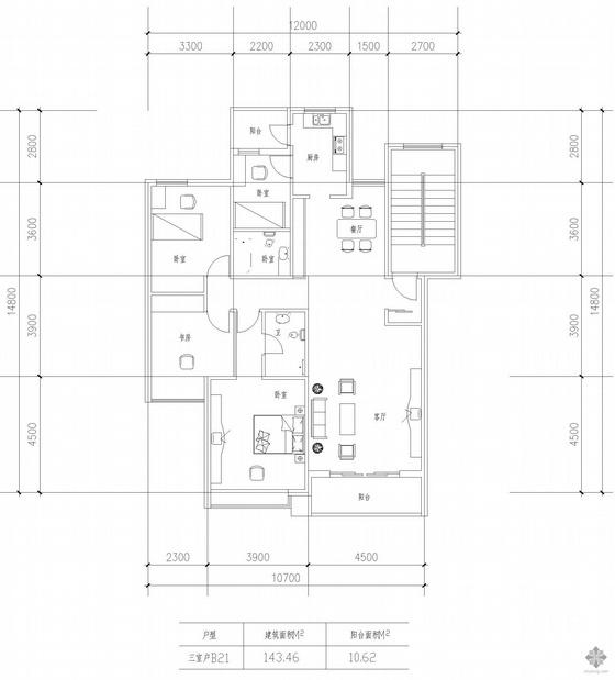 板式多层一梯两户三室一厅二卫户型图(143/143)