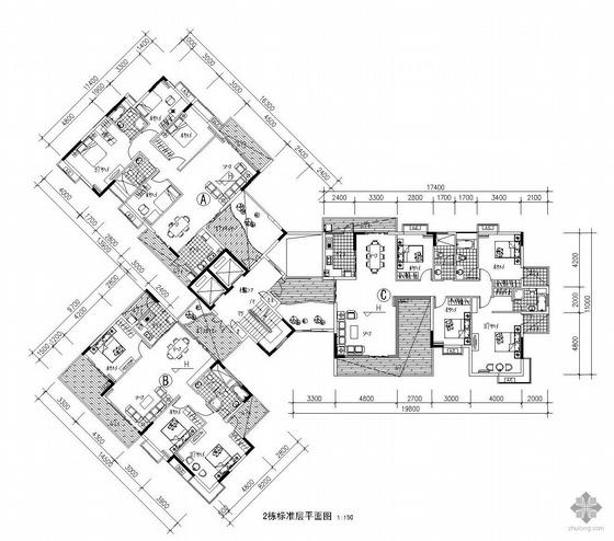 塔式多层一梯三户户型图(143/125/185)