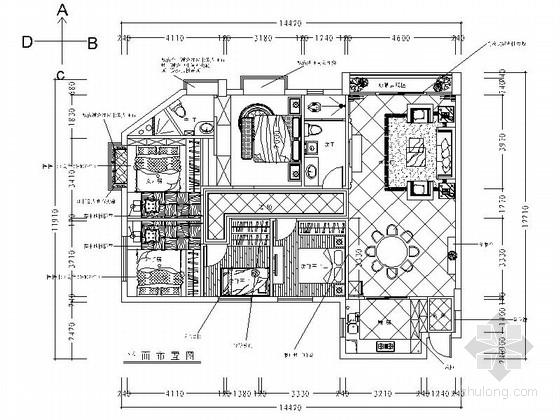 欧式新古典风格五居室装修施工图(含效果)