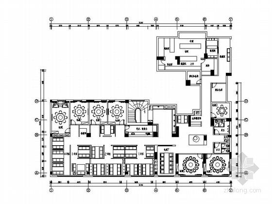 [福州]两层木质时尚餐厅室内施工图(含高清效果图)