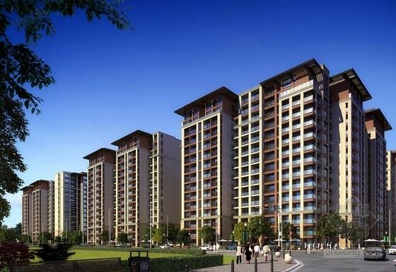 [成都]纯净主义风格高层住宅区规划设计方案文本-纯净主义风格高层住宅区规划效果图
