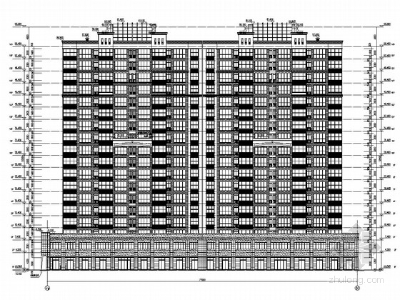 16000平18层框剪结构商住楼结构施工图(两层底商 含建筑图)