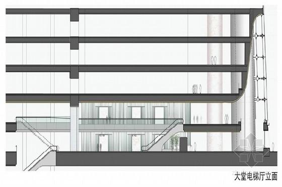 [上海]环超高层地标式摩天商务现代办公大楼设计方案大堂电梯厅立面图