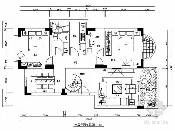 [广东]现代简约风格复式样板间室内装修施工图(含效果)