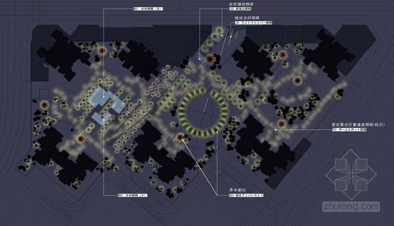 [重庆]寺庙周边景观扩初设计方案-夜景平面图