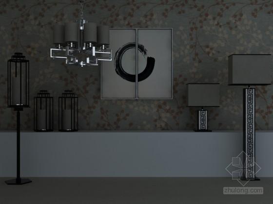 现代灯具组合3D模型下载