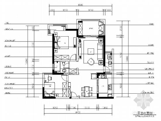 [江苏]混搭风格一居室样板间装修施工图(含效果及软装图)