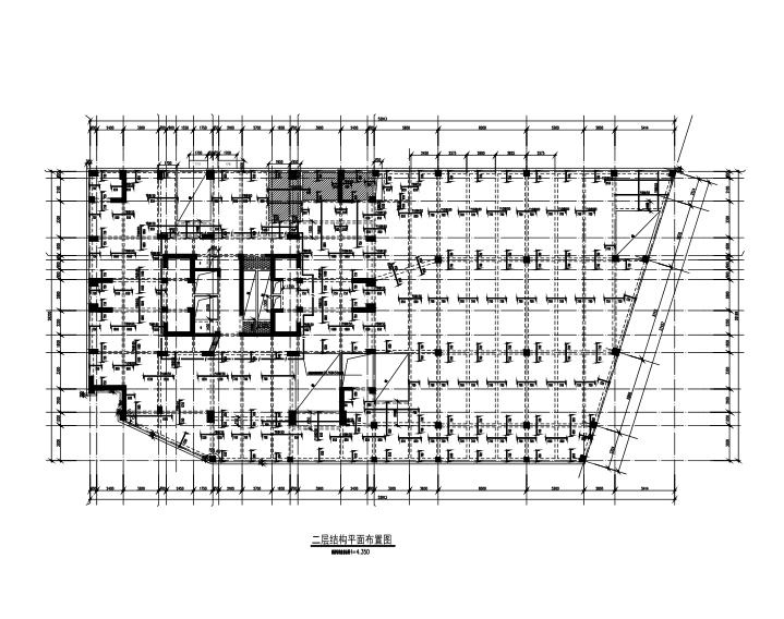 25层框架剪力墙结构综合楼建筑结构施工图-二层结构平面布置图
