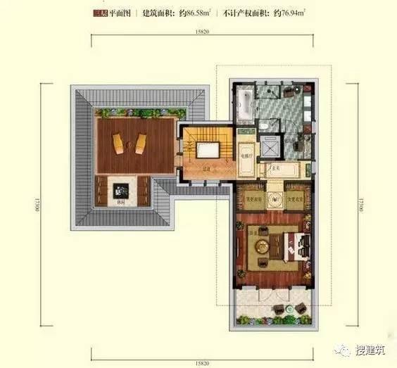 万科罕见的270㎡5房6卫双拼户型,庭院高达228㎡_27