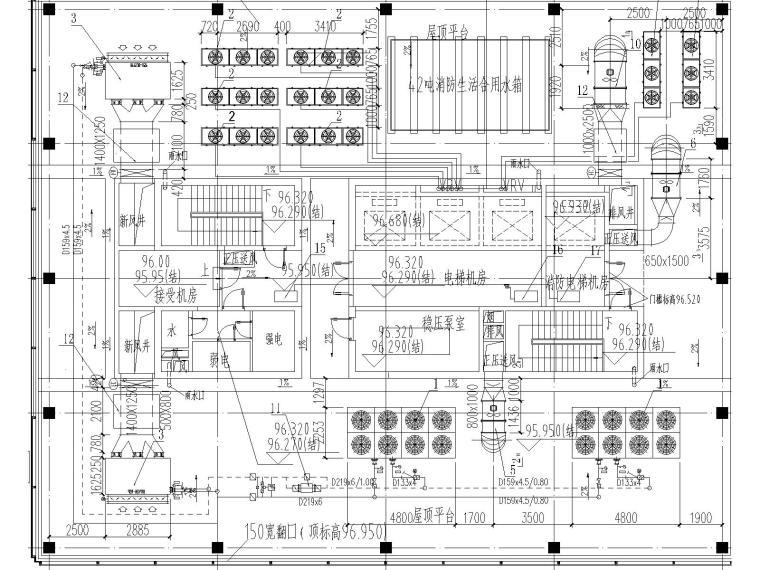 [上海]国际金融中心暖通施工全套图(含冷热源、空调系统、机械通风与排烟系统与节能设计)
