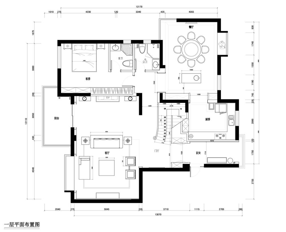 欧式棕榈泉别墅设计平面图