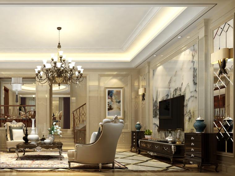 宽敞欧式客厅3D模型下载