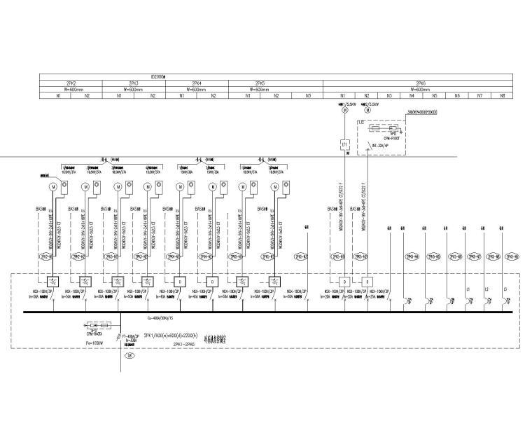 [上海]某学院楼及教学楼电气施工图纸(含动力、照明及变电所图纸)-冷冻机房配电系统图
