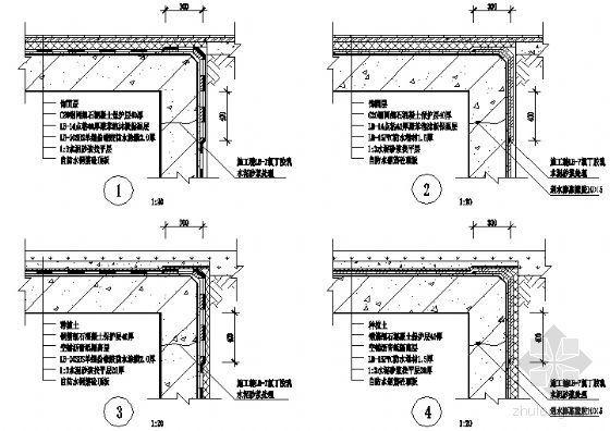 外防外贴(涂)法地下室顶板与壁板转角位防水构造