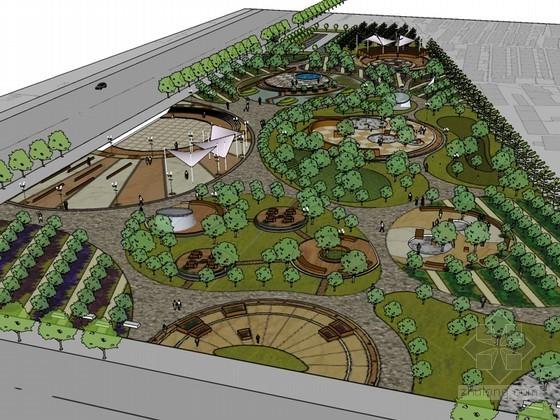 城市休闲广场SketchUp模型下载