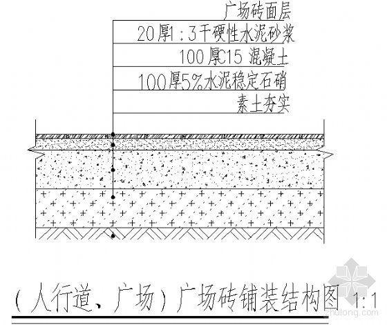 (人行道、广场)广场砖铺装结构图