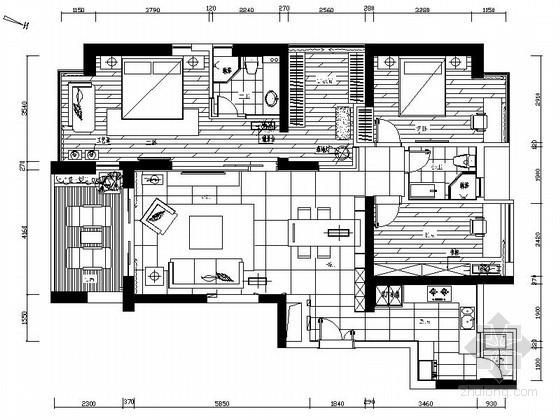 135㎡三居室样板房装修设计图