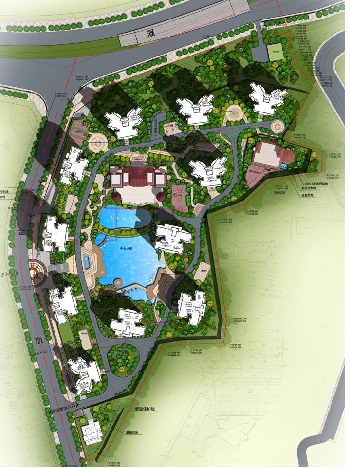 [重庆]欧式现代大型住宅区建筑设计方案文本总平面图