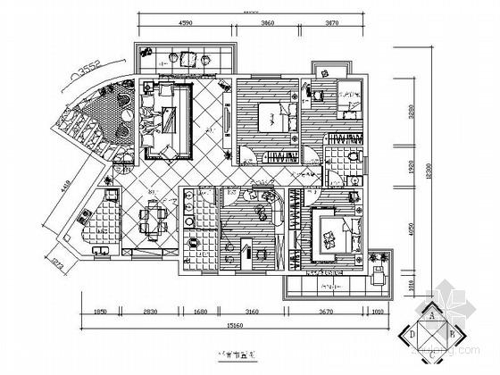 [娄底]花园高档住宅小区地中海设计四居室装修图(含效果)