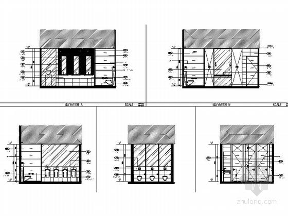[上海]豪华现代酒店卫生间电梯厅走道室内装修施工图(含效果)卫生间立面图