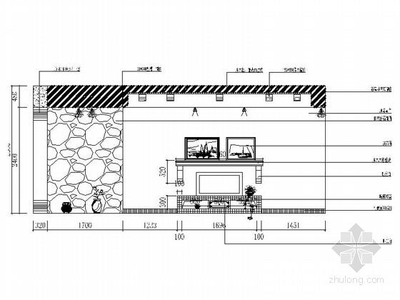 名师设计田园风情复式样板间装修施工图(含效果)客厅立面图