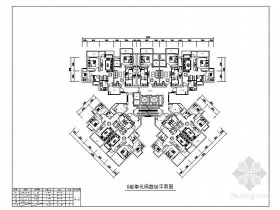 高層住宅一梯九戶標準層平面圖(44、64平方米)