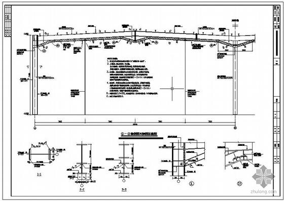某单层双跨门式刚架展厅改造加固设计图