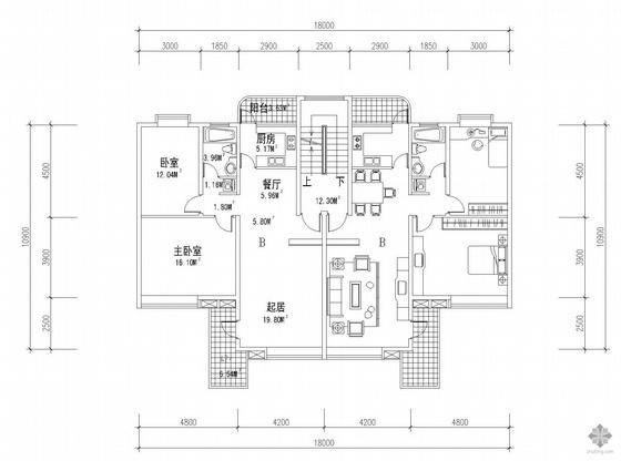 板式多层一梯两户户型图(82/82)