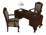 欧式办公桌3D模型下载