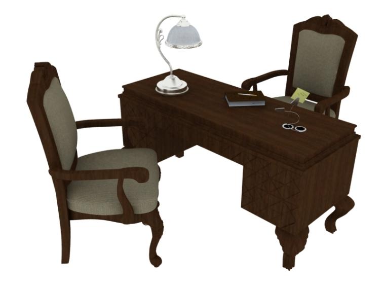 欧式办公装修资料下载-欧式办公桌3D模型下载