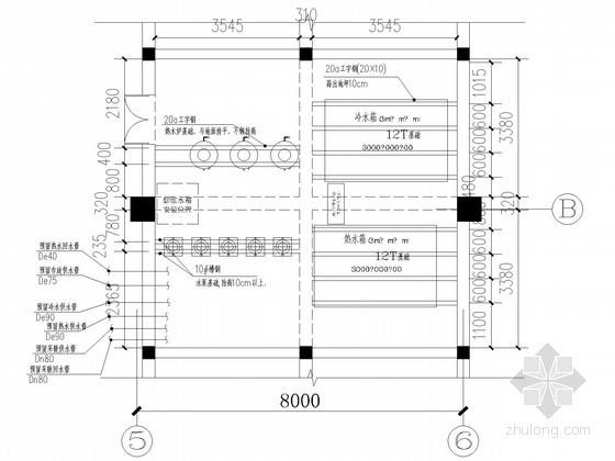[山东]快捷酒店设备间采暖系统设计图纸