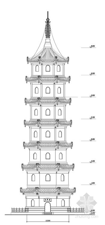 仿古七层八角重檐古塔立面图