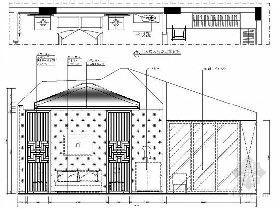 [郑州]北环商圈区典雅新中式三层别墅装修施工图主人房立面图