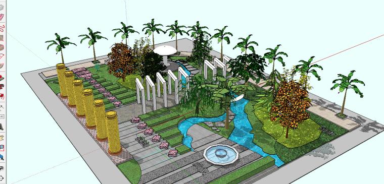 中式小庭院景观设计模型