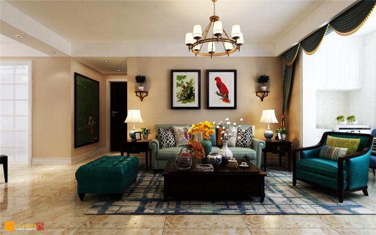 绿地香榭丽公馆三室两厅简美风格装修效果图