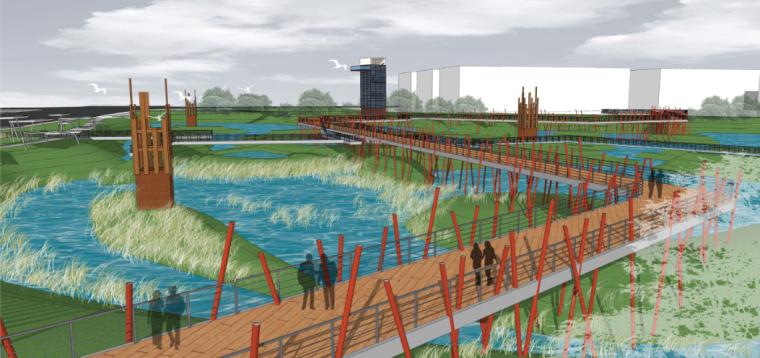 [河南]郑州梅河景观河道规划设计(PDF+128页)-透视图