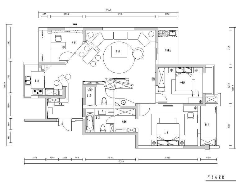 [江苏]苏州风情水岸公寓室内施工图设计(CAD+实景图)