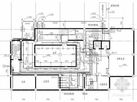 [安徽]高层办公大楼给排水消防施工图(冷凝水系统)