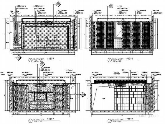 [深圳]现代时尚顶层叠加别墅样板房装修立面图