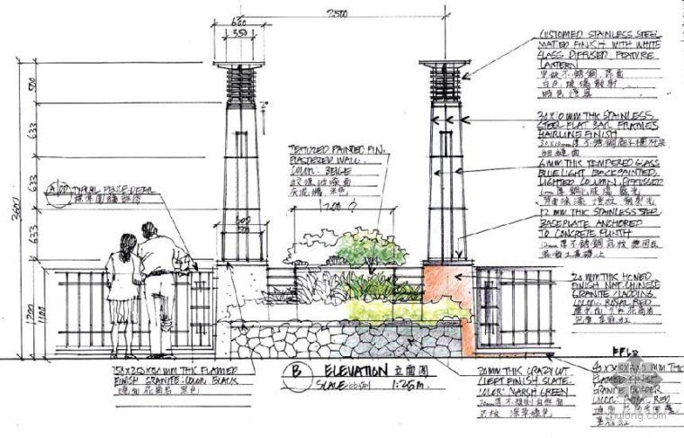 [手绘]种植槽灯柱组景设计详图