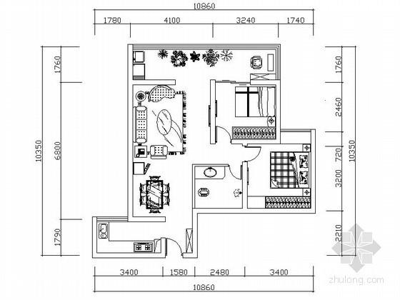 现代简约二居室设计装修图