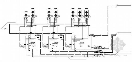 山东某宾馆空气源热泵热水系统流程图纸及设备表