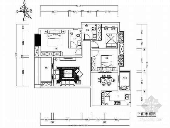 [江西]时尚新古典风格三居室公寓装修施工图(含效果)