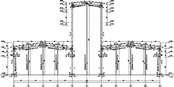 三联跨高低跨门式刚架带吊车厂房施工图