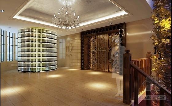 [天津]中外合资企业高档典雅红酒展厅设计方案图门厅效果图