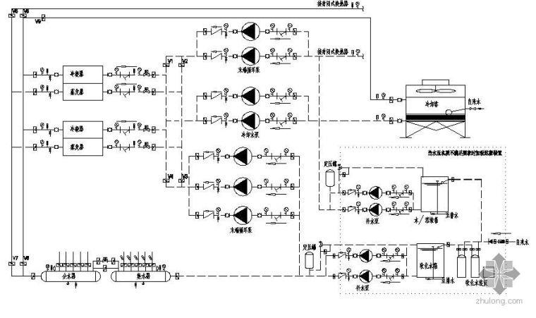 地源热泵系统原理图(土壤蓄冷、空气源)